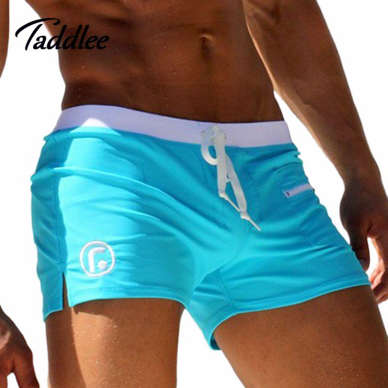 Taddlee Brand Men Swimwear Swimsuits Swimming Boxer Shorts Trunks Pocket Mens Swim Boxers Beach <font><b>Surf</b></font> Board Shorts Bathing Suit
