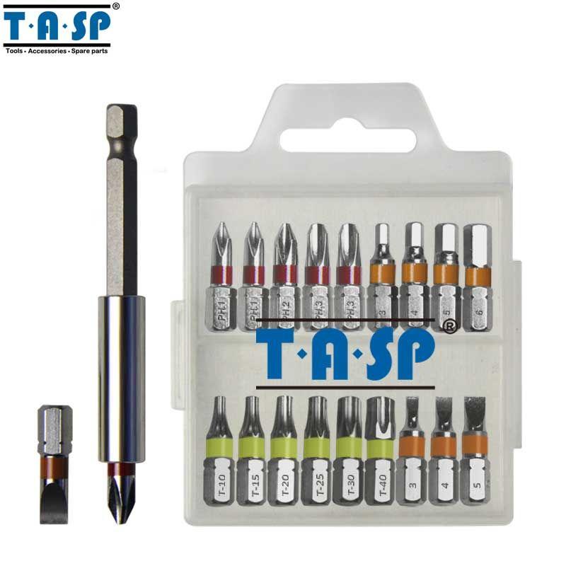 TASP 20 pièces Couleur Tournevis Tête PH Plate Torx Tête Hexagonale avec support magnétique et Boîte De Rangement-MSWB2025