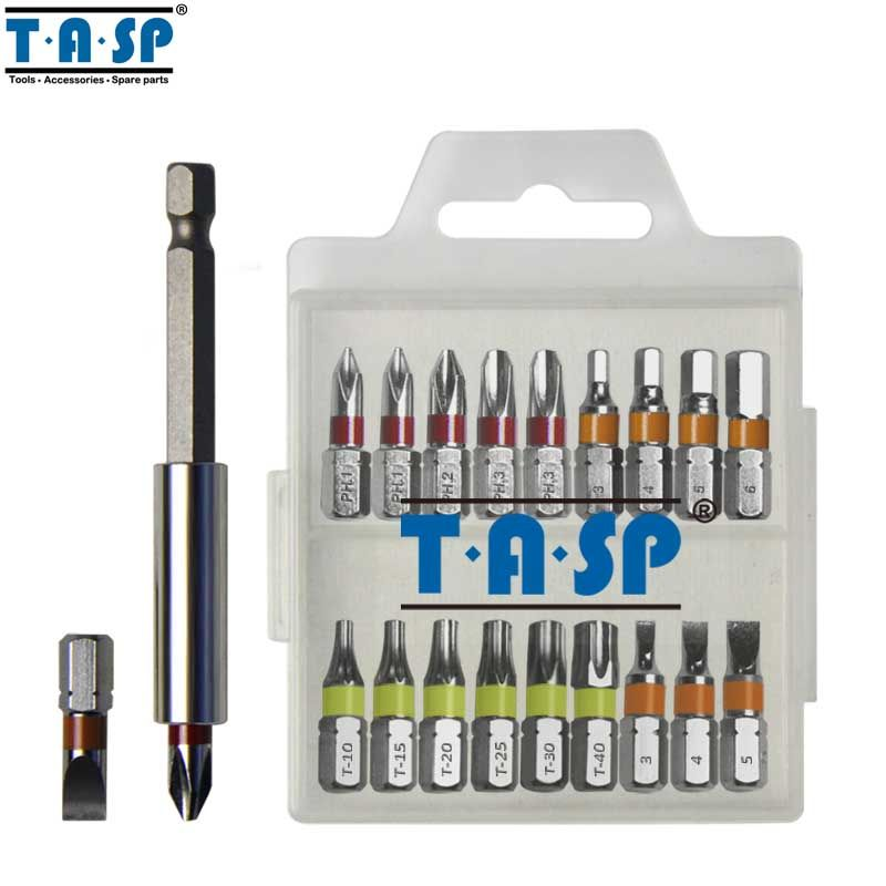 TASP 20 pcs Couleur Codé Tournevis Bit Set Tête PH Torx Plat Hex avec Support Magnétique-MSWB2025