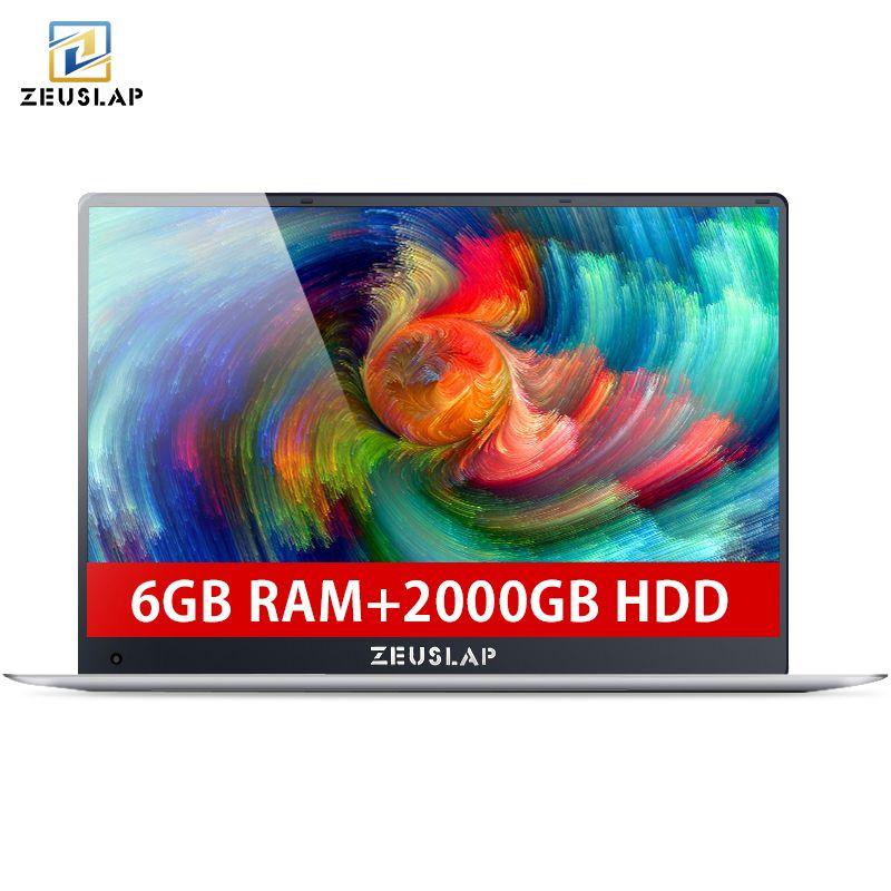 ZEUSLAP 6 gb Ram + 2 tb HDD 15,6 zoll 1080 p IPS Bildschirm Intel Apollo See Quad Core CPU windows 10 System Laptop Notebook Computer