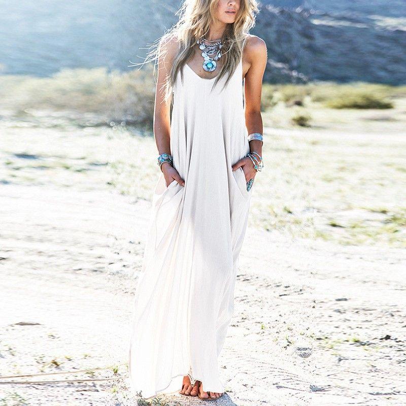 3 Colors Sundress Beach Vestidos 2018 Summer Women Dress Boho Strapless Sexy V-neck Sleeveless Baggy Long Maxi Dresses Plus Size
