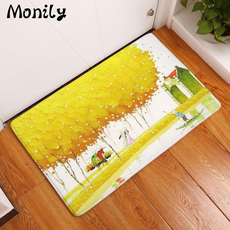 Monily Anti-Slip Floor Mat Waterproof Vintage Cartoon Plant Tree Carpets Bedroom Rugs Decorative Stair Mats Home Decor Crafts