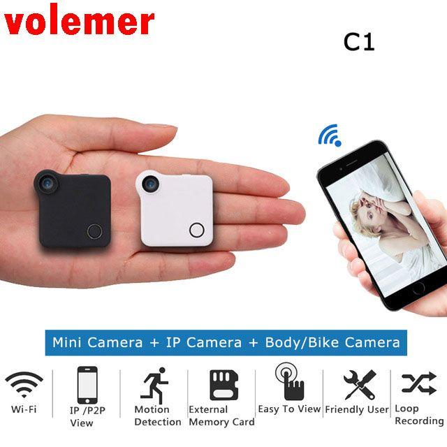 Volemer WIFI P2P Minikamera HD 720 P C1 Tragbare IP Kamera Motion Sensor Bike Körper Mikro Mini DV DVR Magnetische Clip Diktiergerät