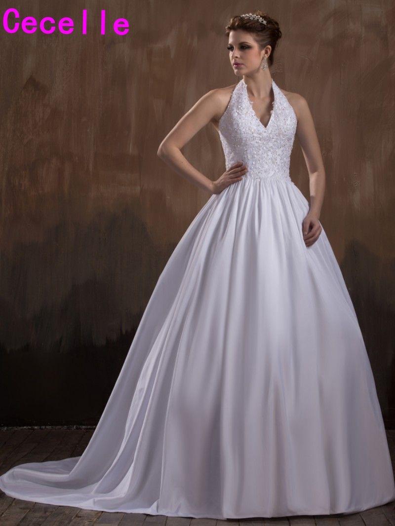 2017 Nuevo vestido de Bola de Vestidos de Novia Vintage Sexy Halter V cuello Formal de la Princesa de Las Mujeres Couture Vestidos de Novia Robe De Mariee personalizado