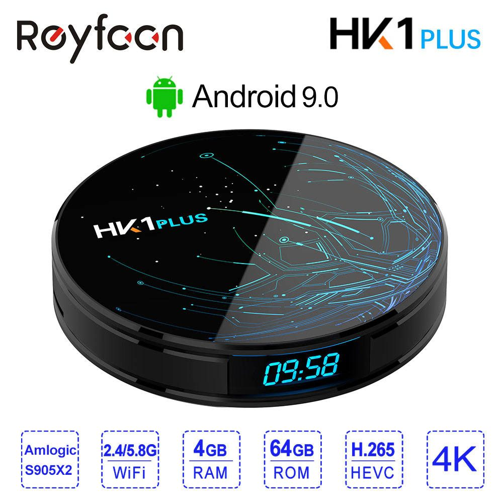 4 GB 64 GB Android 8.1 Smart TV BOX HK1 PLUS Amlogic S905X2 double Wifi BT4.0 USB3.0 H.265 4 K Youtube Google Assistant vocal HK1PLUS
