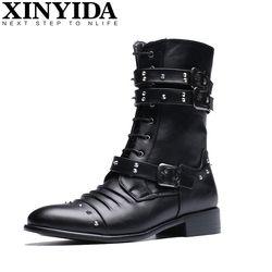Baru Kedatangan Pria Fashion Punk Boots Musim Dingin Tinggi Top Hangat Kualitas Microfiber bulu Martin Sepatu Tinggi Ankle Botas Pria Boots Size38-43