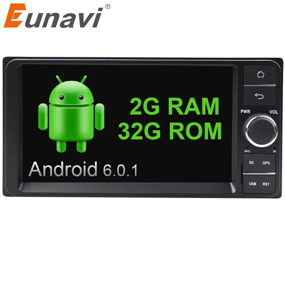 Eunavi Quad core 2 din Android 6.0 2G RAM car dvd player for Toyota Hilux VIOS Old Camry Prado RAV4 Prado 2003-2008 car radio
