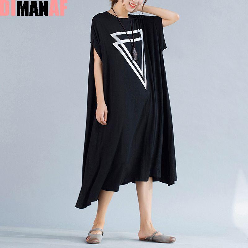 Plus Size Women Dress Summer Solid Print Female Big Size Loose Cotton Fashion Vest Large Size Elegant O-Neck Black New Dresses