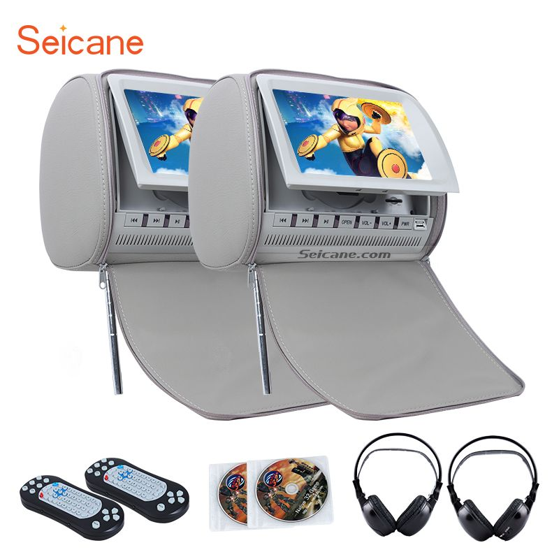 Seicane Headrest DVD Player 9 inch 800*480 with FM Games and Zipper Cover(1 Pair) with 1 pair wireless infrared earphone