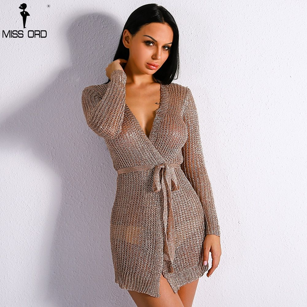 Missord 2017 Long Sleeve Belt  Knitted Jacket Sexy Hollow Out Coat FT8750