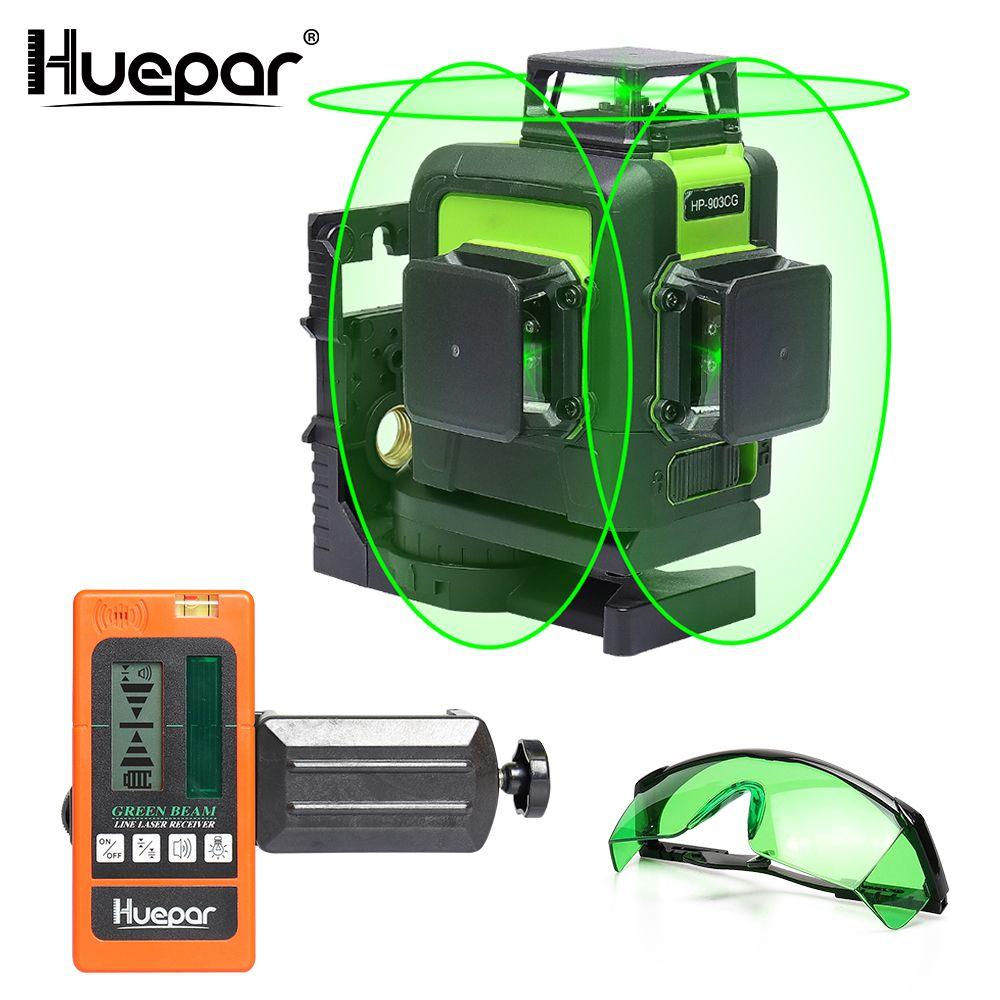 Huepar 12 Lines 3D Cross Line Laser Level Green Laser Beam Self-Leveling 360 Vertical & Horizontal with Glasses & Laser Receiver
