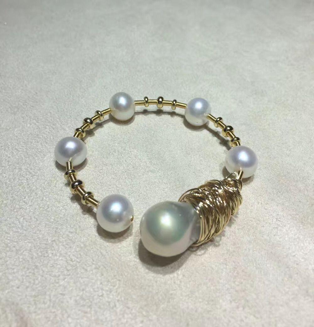 ANI 14 Karat Rolle Yellow Gold Perlenarmband Natürlichen Barockförmige Perle Schmuck Mode Süßwasser Weiße Perle Armband für Frauen
