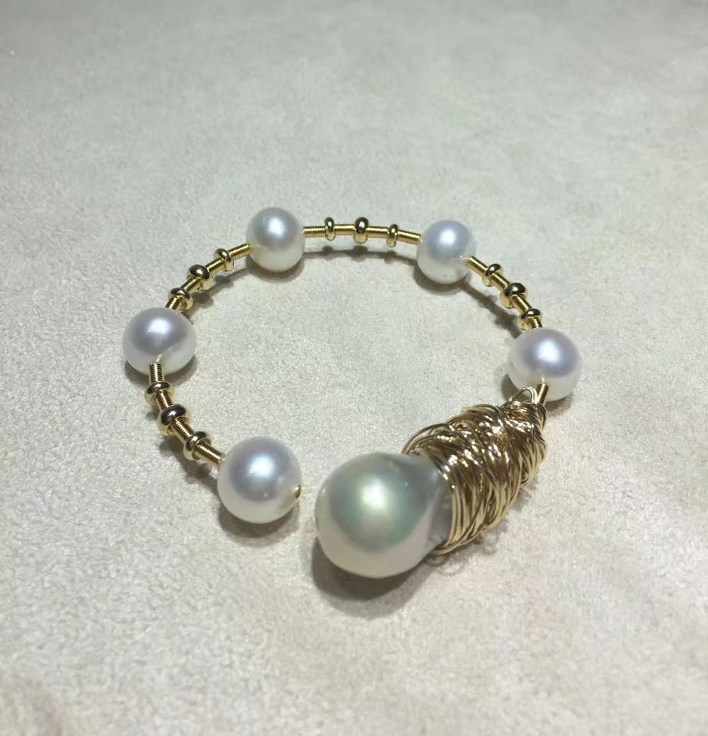 ANI 14K Roll Yellow Gold Pearl Bracelet Natural Baroque Shaped Pearl Jewelry Fashion Freshwater White Pearl Bracelet for Women