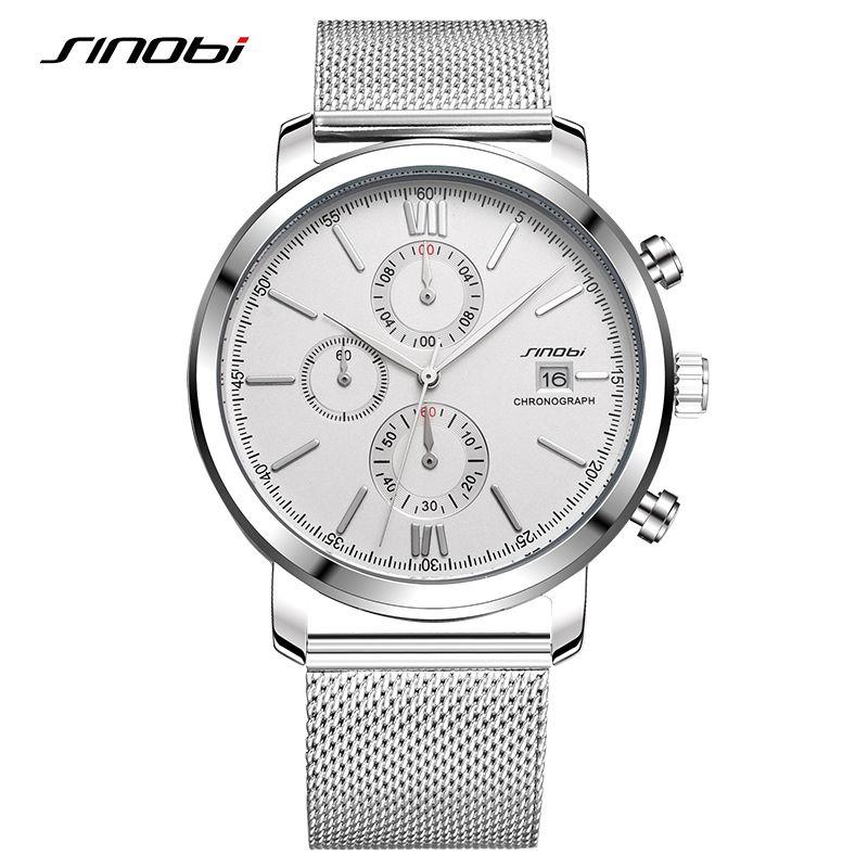 SINOBI Chronomètre Hommes de Montre En Acier Inoxydable Montre Smart Watch Hommes Sport Quartz Montre-Bracelet Étanche Top Marque De Mode Casual Horloge