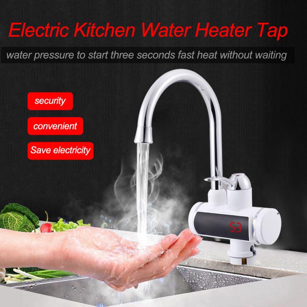 220 V Digital Display Elektrische Wasser Heizung Wasserhahn Küche Instant Heißer Wasser Wasserhahn Heizung Kalte Heizung Wasserhahn Tankless Instantaneou