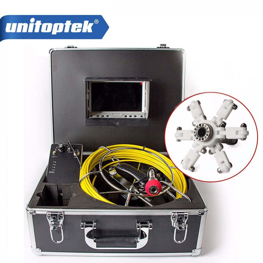20m Cable Fiber Glass 7'' TFT LCD Waterproof Pipe Sewer Inspection Camera Color 1/3 CMOS 1000TVL 12 Leds Endoscope Snake Camera