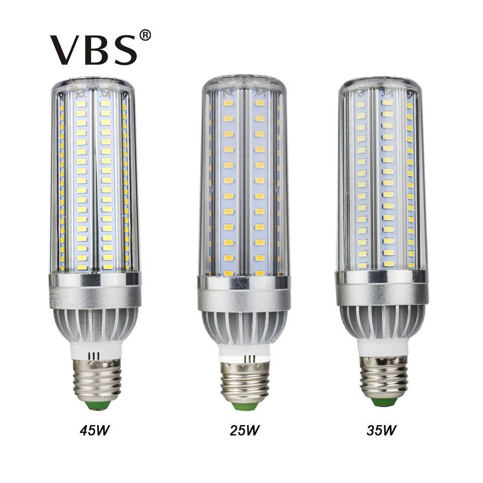 Haute Puissance Led Ampoule de Maïs 5730 SMD 25 W 35 W 45 W E27 LED maïs Lampe Ampoule En Aluminium Ventilateur De Refroidissement Sans Scintillement E27 Led Puissance Ampoule lumière