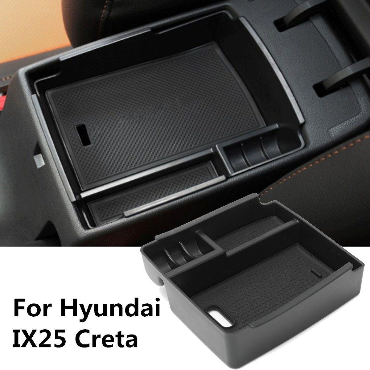 Черный автомобиль центральной консоли подлокотник коробка для хранения чашки телефон лоток для Hyundai ix25 creta 2015 2016