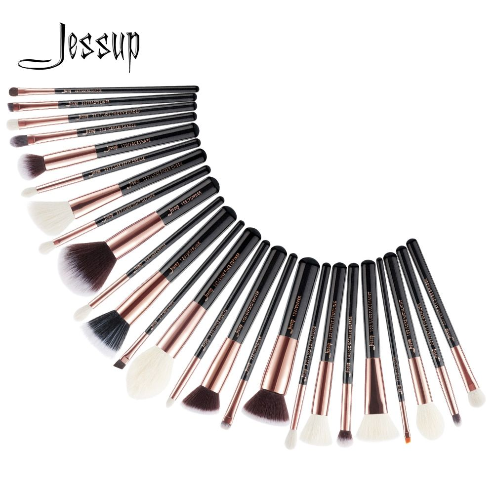 Jessup 25pcs Black/Rose Gold maquiagem profissional completa Foundation Eyeshadow Contour Highlighter Make up Brushes Set T155