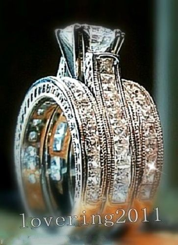 choucong Engagement Princess cut 6mm Stone 5A Zircon stone 14KT White Gold Filled 3 Wedding Band Ring Set Sz 5-11 Gift
