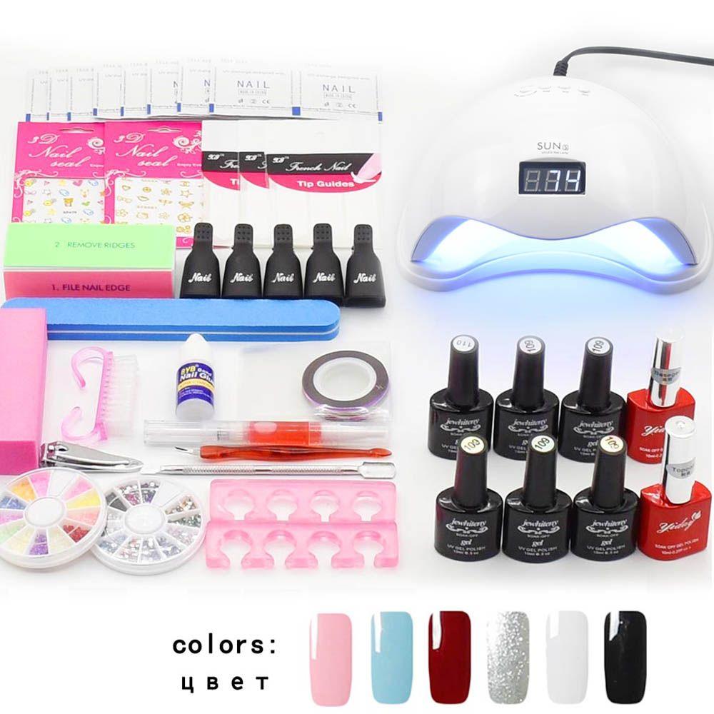 Jewhiteny nail art ensemble UV LED LAMPE Sèche et 6 Couleur Gel Nail set Polonais kit Nail Outils Gel Vernis laque manucure outils kit