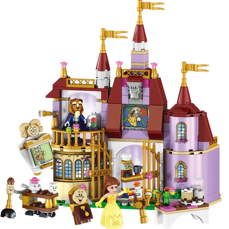 Éducatifs Blocs de Construction Jouets Pour Enfants Cadeaux Château Filles Amis Princesse Prince Sirène Beauté Bête Neige Elsa Anna