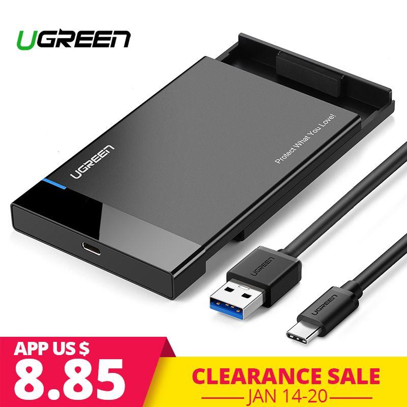 Ugreen HDD Cas 2.5 SATA à USB 3.0 Adaptateur Disque Dur Boîtier pour SSD Disque HDD Boîte Type C 3.1 cas HD Externe HDD
