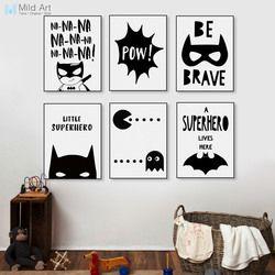 Super-héros Batman Hippie Citations Noir Blanc Affiche Nordique Garçon Enfants chambre Art Mural Déco Maison Toile Peinture Imprimer Photo No cadre