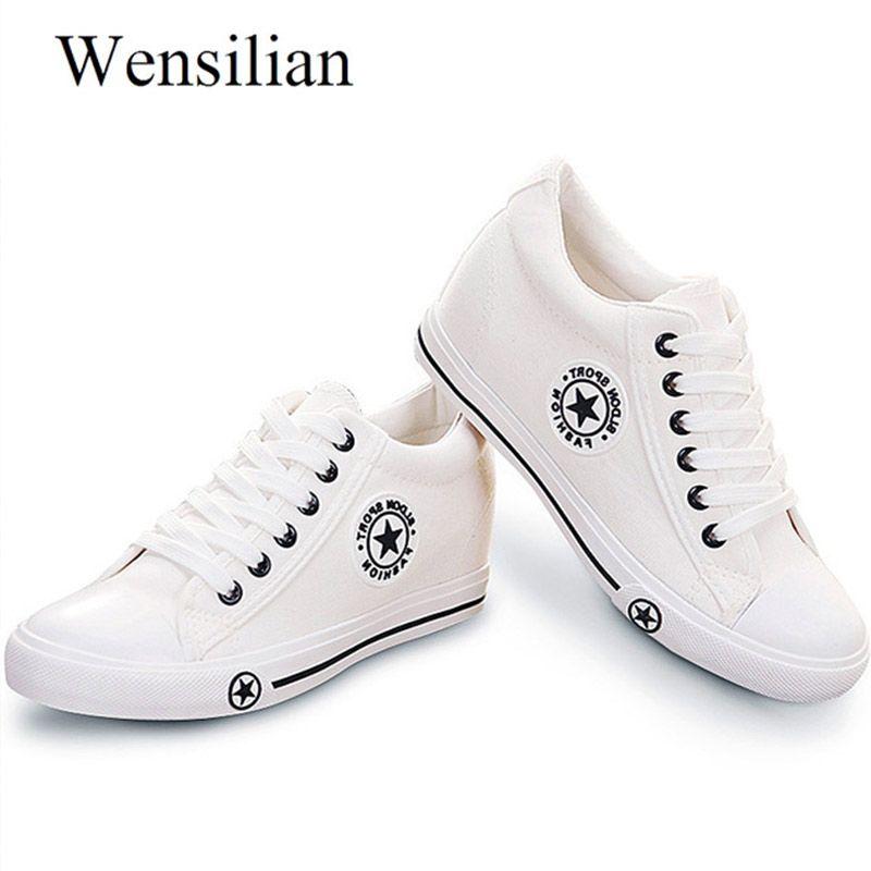 Vulcanize chaussures tennis à semelles compensées femmes baskets été toile chaussures blanc baskets Femme à lacets chaussures pour dames zapatillas mujer