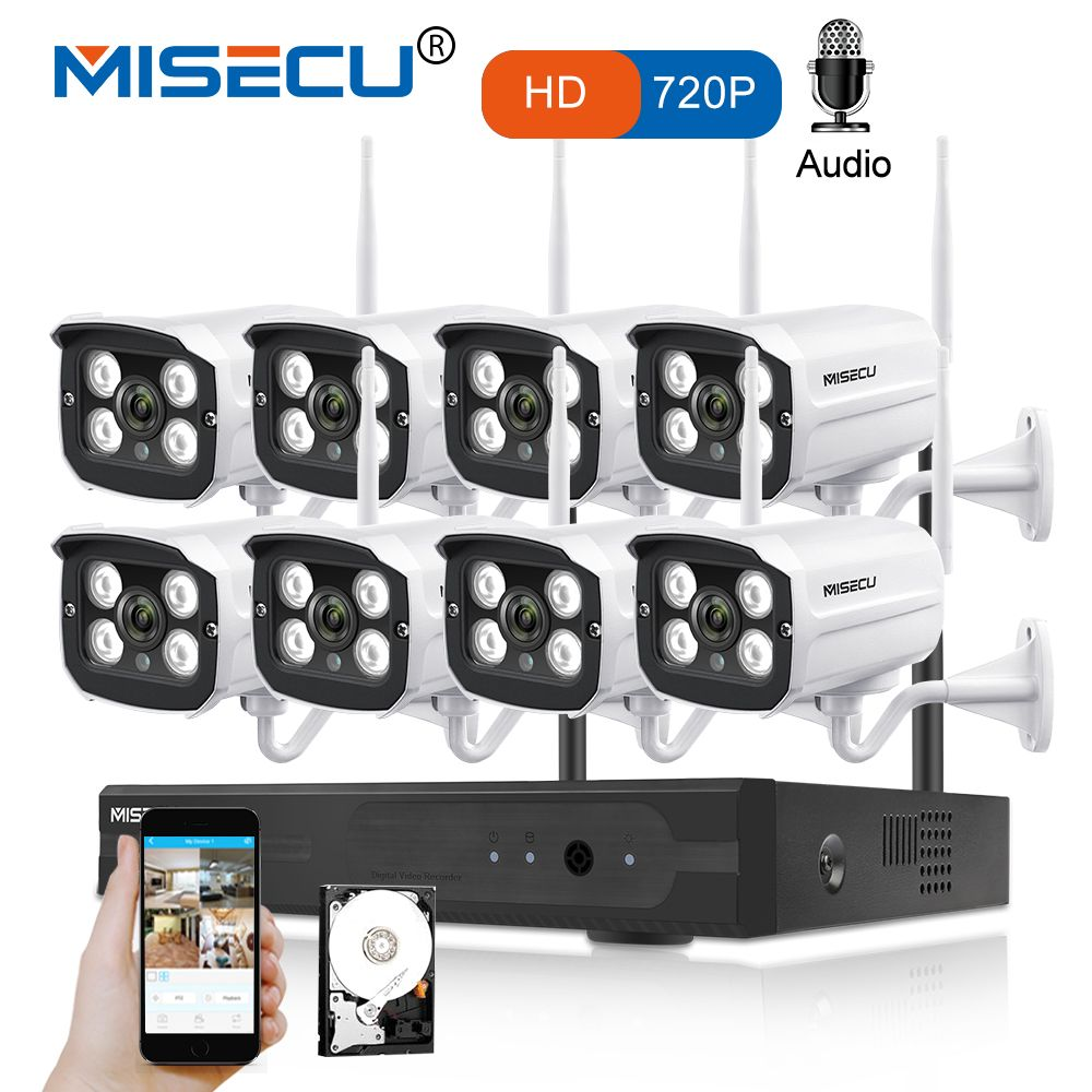 MISECU 8CH NVR WIFI System720P 1MP IP WIFI Camera Audio Record Outdoor Waterproof Plug Play Wireless P2P Night CCTV Security