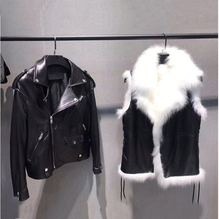 genuine sheepskin leather jacket with fox fur lining vest inside two parts women black coats turn collar feminina women's cloth