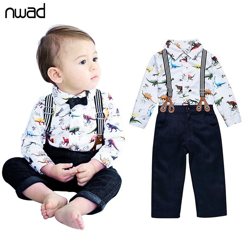 NWAD детская одежда для мальчиков 2017 детская одежда для мальчиков барин динозавр печать рубашка+галстук+нагрудник FF224