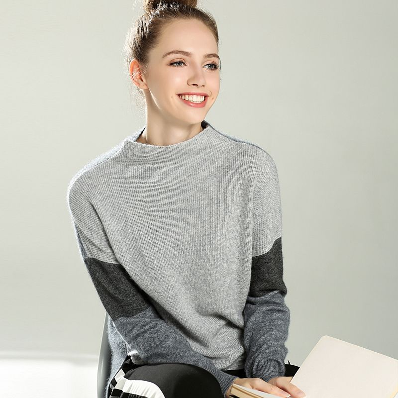 2017 new cashmere sweater women stitching styles pullovers autumn and winter warm sweater female