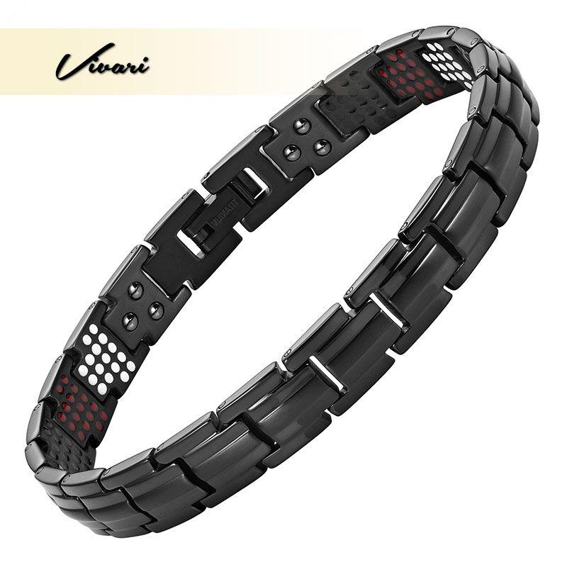 Vivari pur titane femmes santé Bracelet magnétique mince étroit Germanium bénéfice sain 4 éléments Pulseras Hombre Bracelets