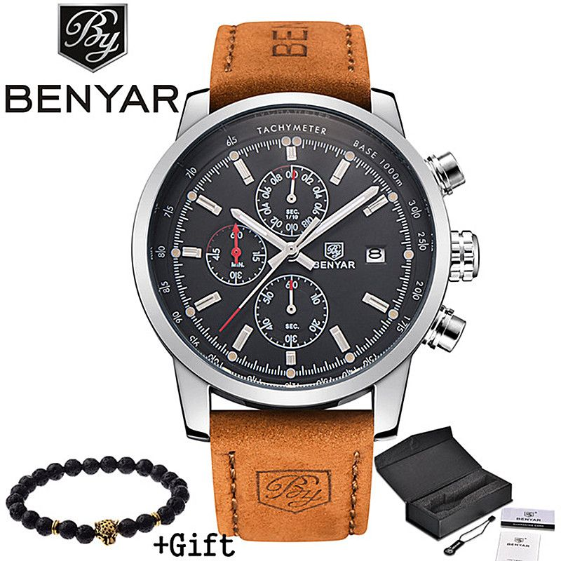 2017 BENYAR Watches <font><b>Men</b></font> Luxury Brand Quartz Watch Fashion Chronograph Sport Reloj Hombre Clock Male hour relogio Masculino