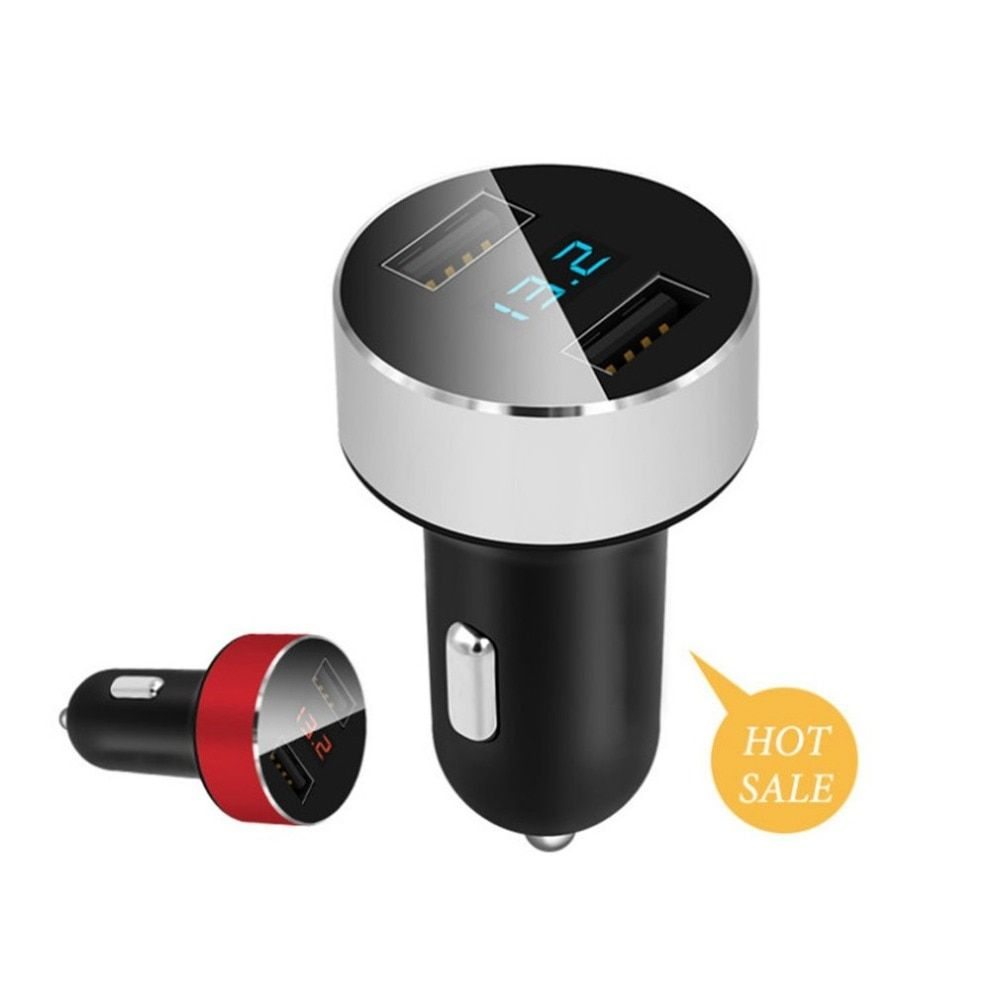Drop ShippingAuto Universal Dual USB Car Charger Portable Charger Fast Charging In-car Carrying Charger Support Most Electronics