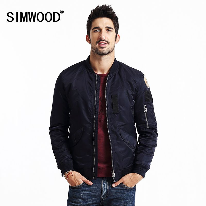 Simwood MA-1 2018 nuevo béisbol bombardero chaqueta hombres moda hip hop abrigos streetwear invierno Militar piloto chaqueta masculina mf9501