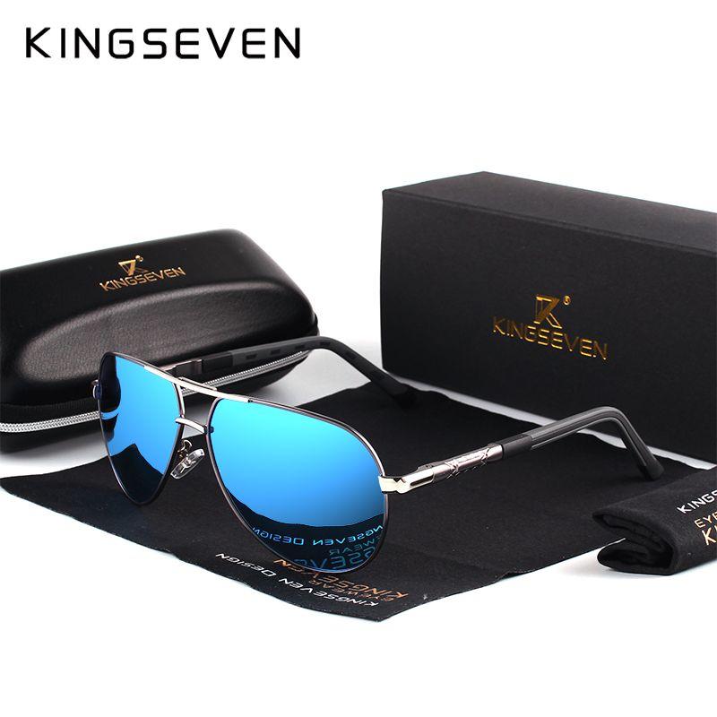 KINGSEVEN Aluminum Magnesium Men's Sunglasses Polarized Men Coating <font><b>Mirror</b></font> Glasses oculos Male Eyewear Accessories For Men K725