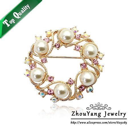 ZHOUYANG ZYX005 Elegant Six Imitation Pearl Rose Gold Color Sky Wheel Brooches Jewelry Austrian Crystal Wholesale