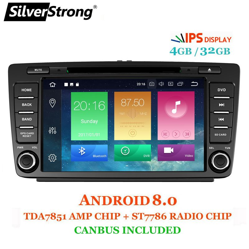 SilverStrong IPS Car 2din Octavia Android8.1-8.0 8inch CAR DVD for Skoda Octavia 2 A5 DSP with 4G+32G CANBUS Octavia2 DAB+ OBD