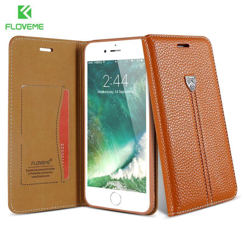 FLOVEME Téléphone Cas Pour iPhone 6 6 s Cas Pour iPhone 7 8 Plus X Cas En Cuir De Luxe Portefeuille Stand Titulaire de la Carte Couverture De Téléphone Holster