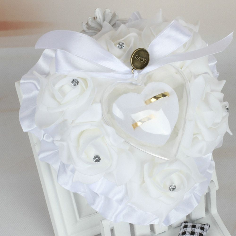 romantic Heart Shape Wedding Ring Pillow Cushion with Rose Flowers Ribbons Rhinetone Ring Box for Bridal Ceremony Party Favors