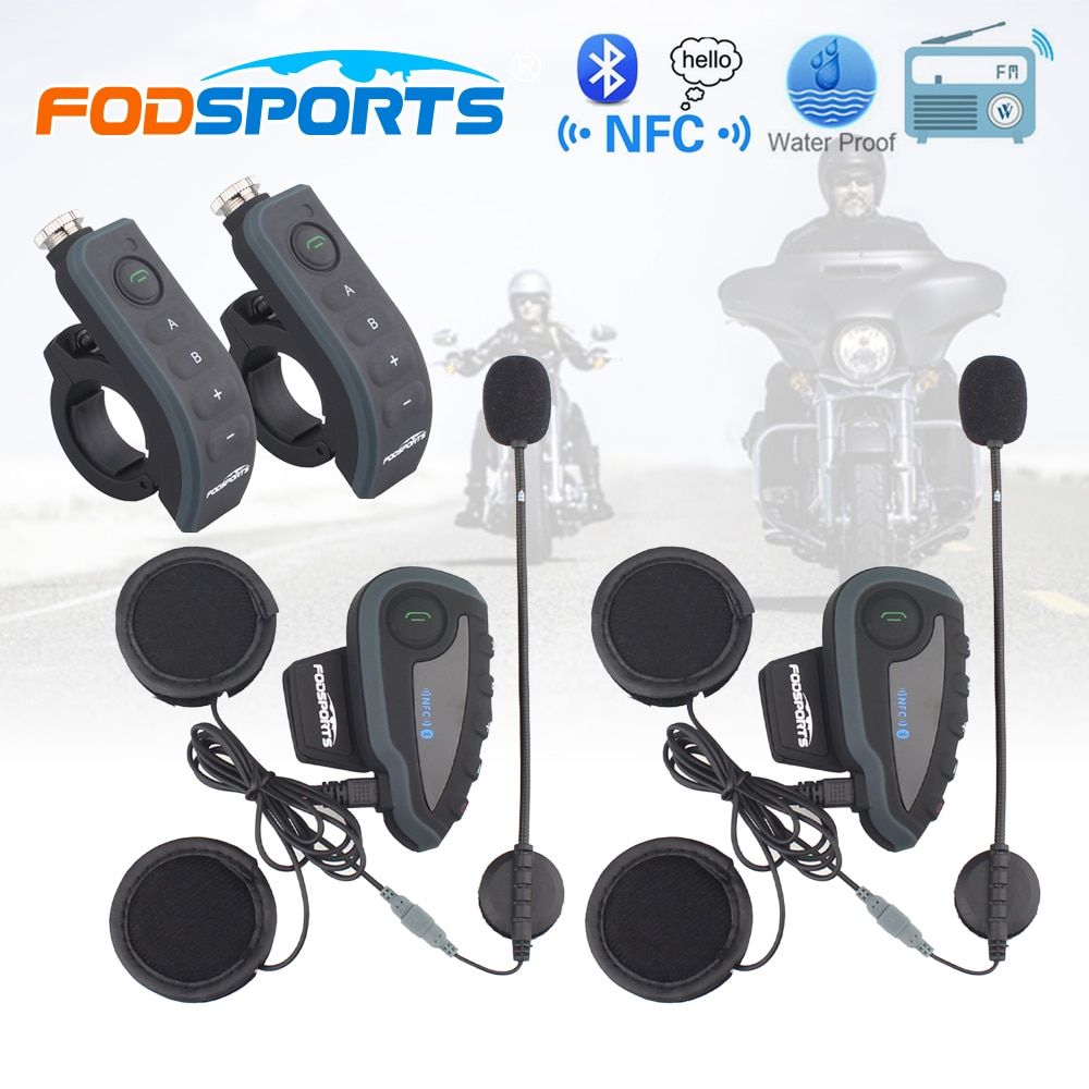 2 шт. V8 мотоциклетный шлем Bluetooth Интерком Шлемы-гарнитуры наушников 5 всадников переговорные BT FM Радио NFC Дистанционное управление