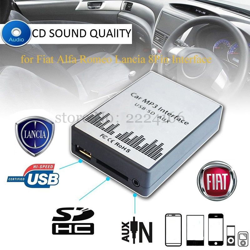 SITAILE USB SD AUX voiture MP3 lecteur de musique Adaptateurs CD changement de machine pour Fiat Alfa Romeo Lancia 8PIN Interface Voiture kit Style