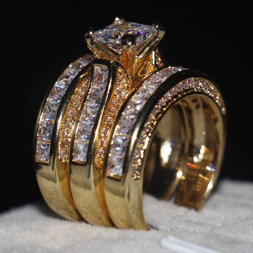 Vecalon Fashion 3-in-1 Women ring Princess cut 7mm AAAAA Zircon cz Yellow Gold 925 Sterling Silver wedding Band ring Set