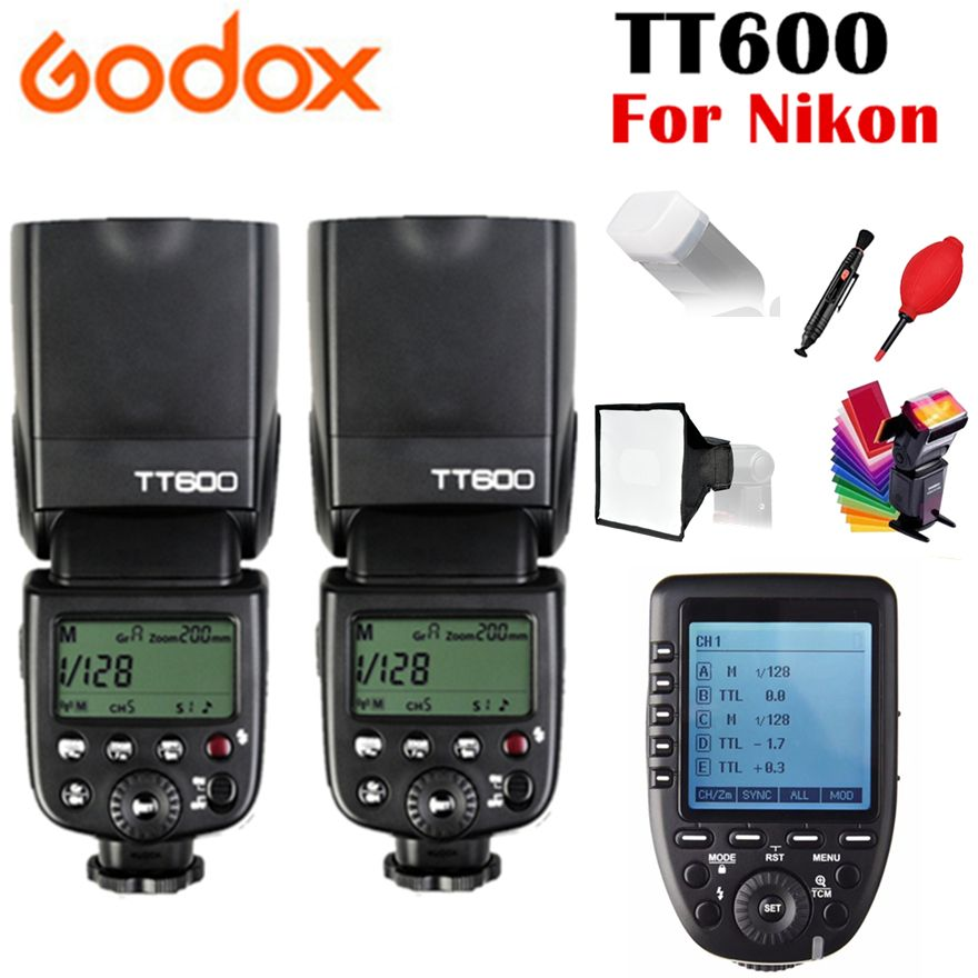 2x Godox TT600 TT600S GN60 2,4g Wireless TTL 1/8000 s-Speedlite für Nikon D3200 D3300 D5300 d7200 D750 + Xpro-N Trigger