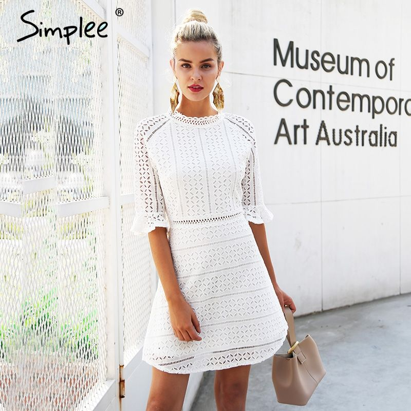 Simplee Elegant <font><b>hollow</b></font> out lace dress women Half sleeve summer style midi white dress 2018 Spring short casual dress vestidos