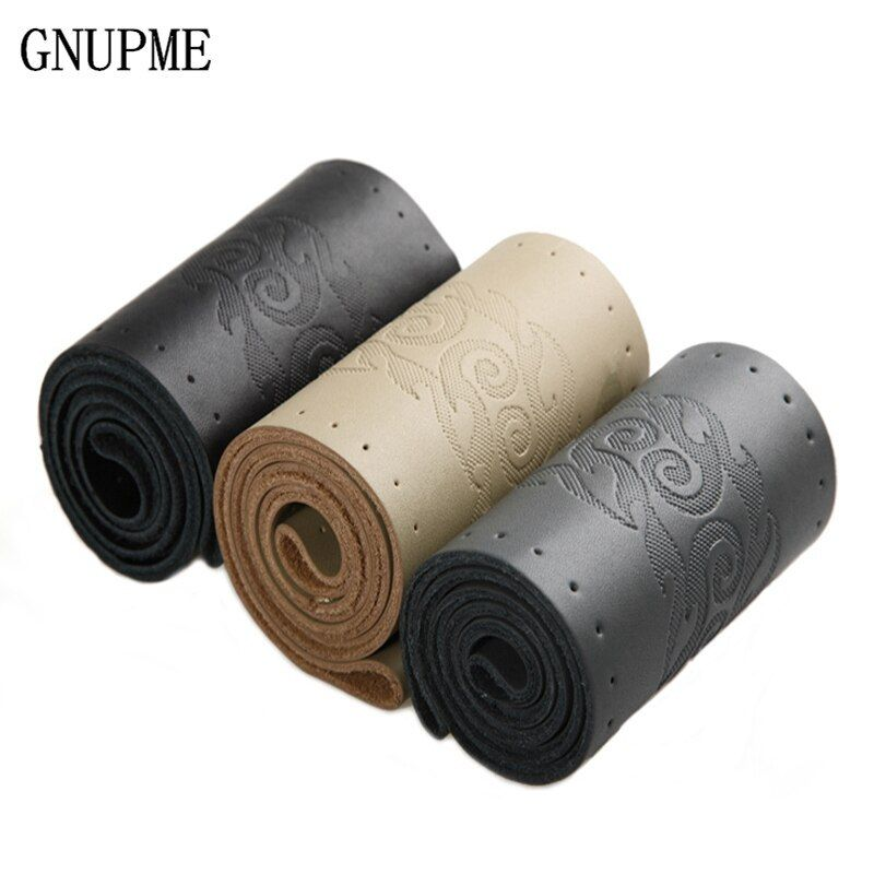 GNUPME DIY Steering Wheel Covers Genuine Leather Braid On The Steering-wheel Of Car With Needle And Thread Interior Accessories