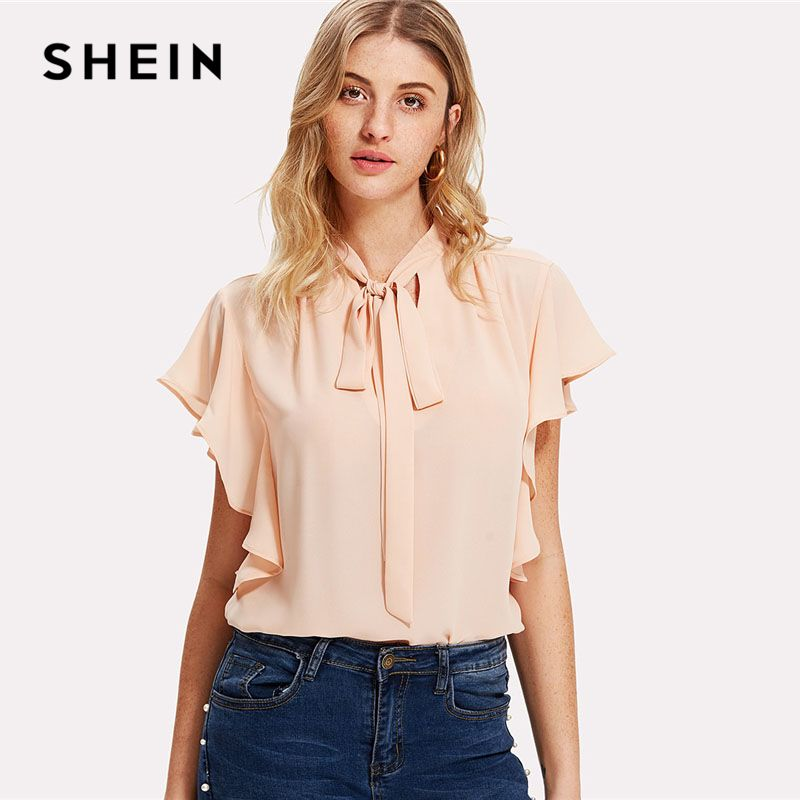 SHEIN Pink Tie Neck Bow Ruffle Plain Trim Top Stand Collar Sleeveless Women OL Style Blouse 2018 Summer New Elegant Work Blouse