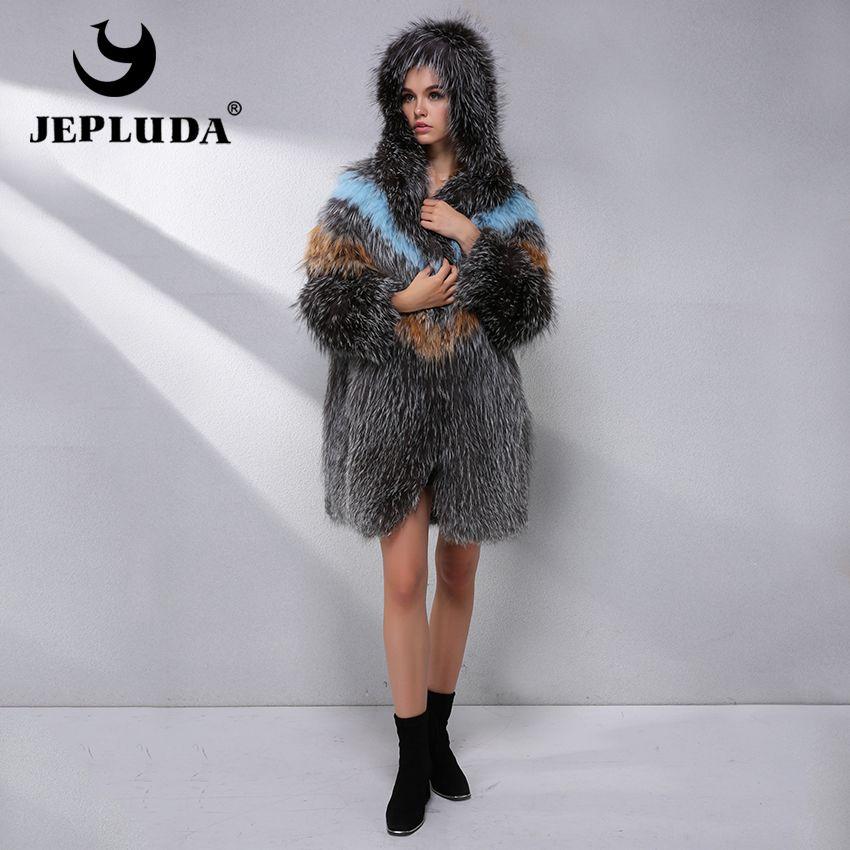JEPLUDA Luxus Heißer Verkauf Natürliche Echt Fox Pelz Mantel Frauen Kleidung Neueste Mode Farbe Echt Pelzmantel Winter Leder Jacke frauen